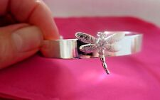 Silver Bangle Cuff Bracelet with Inlaid Dragonfly with CZ Crystal Silver 925