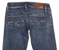 DIESEL MATIC Wash 008XT Womens Slim Fit Skinny Blue Distressed Jeans W27 L34