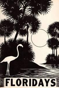 "1941 Don Blanding Original Art Deco Vintage Print ""Floridays"""