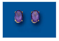 Amethyst Earrings Oval Amethyst Solitaire Studs Yellow Gold Amethyst Earrings