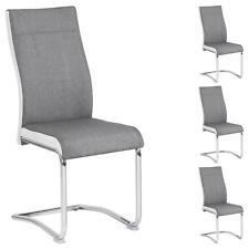 Lot de 4 chaises de salle à manger piètement chromé revêtement tissu gris blanc