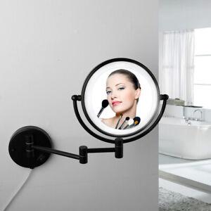Black Make Up LED Light 3X Magnify Make Up Mirror Beauty Wall Mount Folding Use