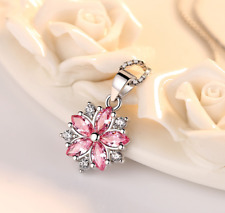 Pink White Oval Crystal Flower Pendant Necklace 925 Silver Jewelry Women