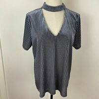 Atmos & Here Womens Grey Stripe V Neck Faux Velvet Neck Band Top Size 12 A15