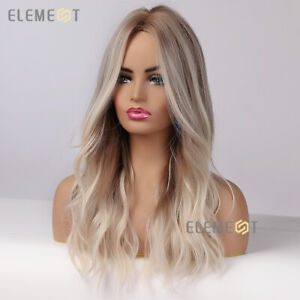 Platinum Blonde Highlights Hair Wigs for Women Long Ombre Wavy Brown Roots Wig