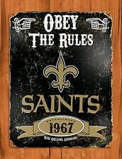 "TIN-UPS TIN Sign ""Obey The Rules Sains"" Vintage Football Beer Store New Orleans"
