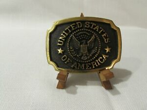 Vintage 1981 C&S Solid Brass Seal of the United States of America Belt Buckle