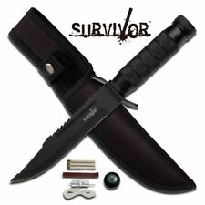 """Survivor 9.5"""" Fixed Blade Survival Knife - Metal Handle"""