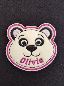 Personalised Panda Embroidered Name Badge / Patch  Iron on or sew