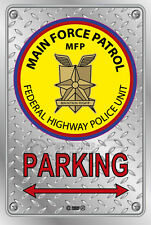 Parking Sign Metal Mad Max MFP ROUND 004- Checkerplate Look