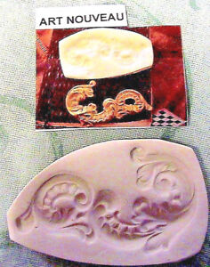 "ART NOUVEAU ABSTRACT 2-1/4"" x 1-1/4"" wide~Hard MOLDS~*RARE~Fimo~Clay~soap"