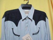 VTG 1950s LG SMILEY POCKETS Diamond Pearl Snaps Rockabilly Rayon Western Shirt