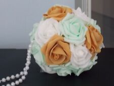 """5"""" Gold, Mint, White Flower Girl or Bridesmaid Bouquets, Wedding Pomander Ball"""