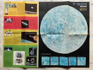 1958 Rand McNally Official Map of the Moon Compliments of Dial Soap 24 x 18