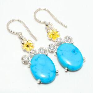 """Magnesite Turquoise & Topaz Gemstone 925 Silver Handmade Earring 1.48"""" W2456"""