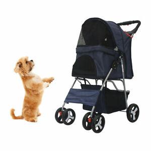 4 Wheels Pet Stroller Dog Cat Cage Stroller Foldable Portable Jog Travel Carrier