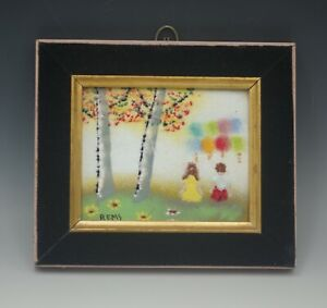 REMS CHILDREN WITH BALLOONS ENAMEL ON COPPER FRAMED PAINTING VINTAGE