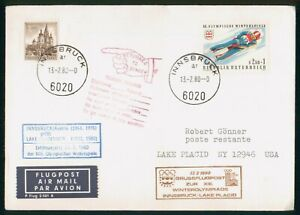 MayfairStamps 1980 Olympic Flight Innsbruck Lake Placid Austria Cover wwp6507