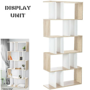 Modern Display Unit With 5 Shelves Book Photo Living Lounge Shelving Storage NEW