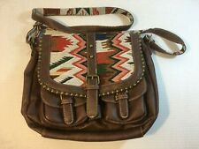 Western Leather and Studs Purse Tote Handbag with Native American Motif