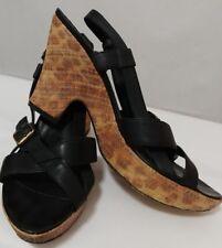 DONALD J PLINER Couture Black Leather Wedge Platform Sandals Women's Size 10.5