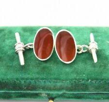 Vintage Sterling Silver Red Carnelian Cufflinks Art Deco Peaky Blinders #R691