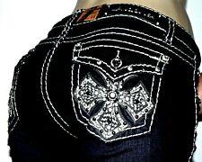 LA IDOL Stretch Bling Flap Pocket Cowgirl Cross Stretch Jeans Plus Sz 16 17 NWT