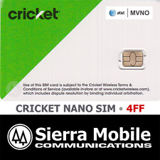 CRICKET WIRELESS NANO Sim Card 4FF • GSM 4GLTE • AT&T Network MVNO • NEW