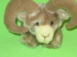 "Dakin Plush Small Ram Corduroy Horns Stuffed Animal 5"" Plush Vintage 1983 Animal"