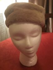"""Lovely Vintage 50's 60's Sheared Tan Fur Tall Pillbox Hat 19 """"Inside 2 3/4 H"""