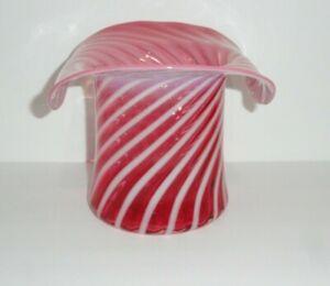 """Fenton Large 8"""" Cranberry Optic Swirl Hat Vase"""