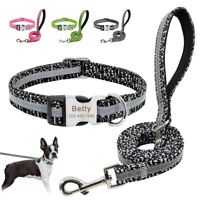 Reflective Personalised Dog Collar&Lead Custom ID Name Number Grey Pink Green