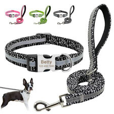 Reflective Dog Nylon Collar and Lead Leash Personalised Pet Name Number ID Tag