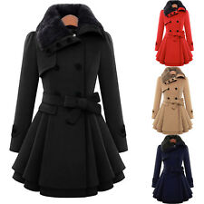Women Double Breasted Fur Collar Military Coat Dress Outdoor Overcoat Jackets