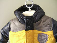 NWT Catimini French Urban Boys Yellow Blue Doudoune Hooded Jacket Coat 12 M $198