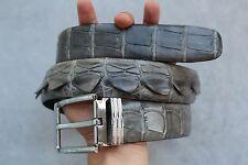 4cm Wide - GRAY Genuine Alligator, CROCODILE Leather Skin Men's Belt