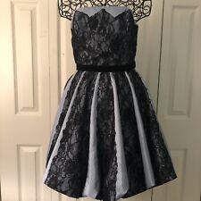 Betsey Johnson Celeb MTV Strickly Ballroom Dress 6 Blue Black Lace Bubble Hem