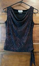 Women's A. Byer Sleeveless Blouse Red Black Dressy Sparkly M