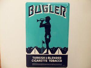 Metal Bugler Cigarette Sign Bugle Boy Army Band Camp Tobacco Military Horn