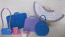 Barbie doll Plane/Cruise Ship Travel Agency Grand Hotel Luggage Suitcase Dot Hat