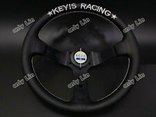 320mm Leather Deep Dish Steering Wheel MOMO OMP Nardi Rally Drift KEYs Style
