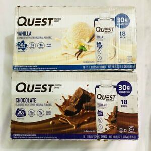 Quest Nutrition Protein Shake 18 count Vanilla & 18 Chocolate Total 36 -11 oz ea