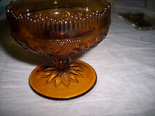 Vintage - Tiara Indiana Glass Amber  Footed Candle Holder