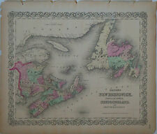 1855 Genuine Antique map New Brunswick, Nova Scotia, Newfoundland. Colton