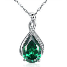 "Sterling Silver 3.15 Cttw Pear Cut Lab Emerald Necklace Pendant with 18"" Chain"
