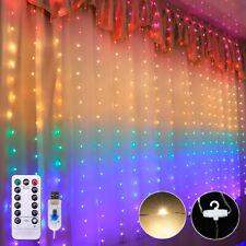 200-300LED USB Power Curtain Lights Fairy String Outdoor Xmas Party Garden