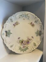 Vintage China Germany? Serving Tray Purple Flowers