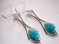 Blue Turquoise with Curved Columns 925 Sterling Silver Dangle Earrings