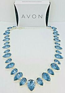 Avon Winter Soft Blue Sparkle Necklace-Faux Stone Set in Silvertone 21 1/2 in.