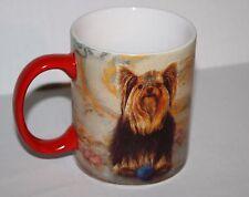 Yorkie Terrier Dog Ceramic Red Handle Coffee Cup Mug Cypress Home Yorkshire